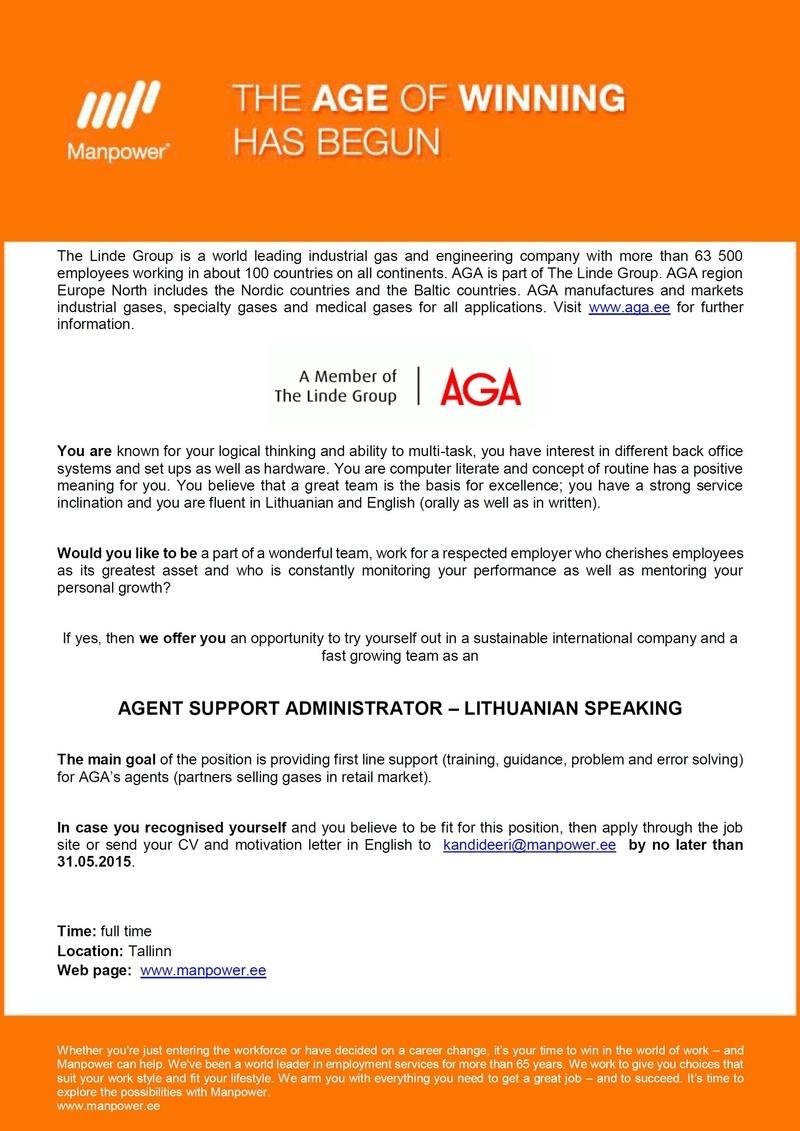 CV Keskus tööpakkumine Agent Support Administrator ...: http://cvkeskus.ee/view_jobad.php?w=1&job_id=380304